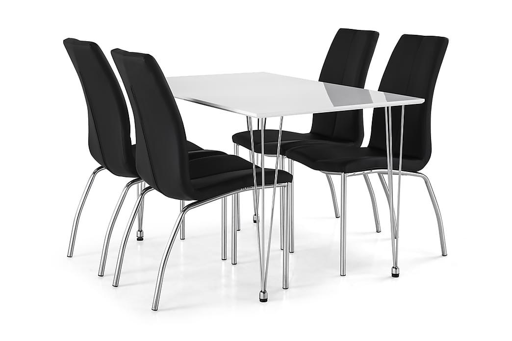 Ruokailuryhmä Kranstull 120 cm Valkoinen/Musta - 4  Dion tuolia - Huonekalut - Ruokailuryhmät - Kulmikas ruokailuryhmä