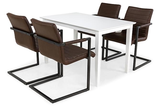 Ruokailuryhmä Lansing Valk/tummanruskea - 4 Dutch tuolia - Huonekalut - Ruokailuryhmät - Kulmikas ruokailuryhmä