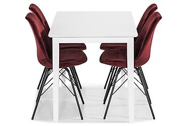 Ruokailuryhmä Lansing 120 cm 4 Scale tuolilla Sametti