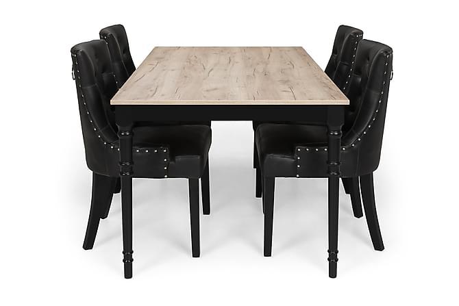 Ruokailuryhmä Milton Jatkettava 160 cm + 4 tuolia Tuva - Harmaa Vintage/Musta - Huonekalut - Ruokailuryhmät - Kulmikas ruokailuryhmä