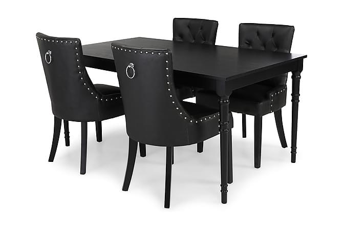 Ruokailuryhmä Milton Jatkettava 160 cm + 4 tuolia Tuva - Musta - Huonekalut - Ruokailuryhmät - Kulmikas ruokailuryhmä