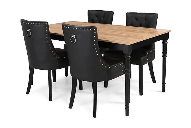 Ruokailuryhmä Milton Jatkettava 160 cm + 4 tuolia Tuva - Tammi/Musta - Huonekalut - Ruokailuryhmät - Kulmikas ruokailuryhmä