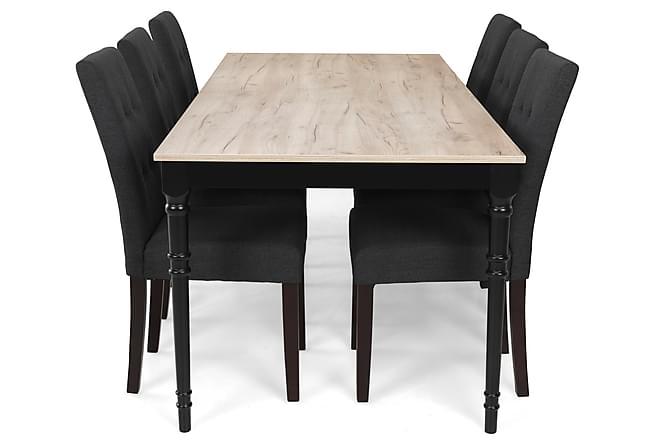 Ruokailuryhmä Milton Jatkettava 200 cm + 6 tuolia Leo - Harmaa Vintage/Musta/T.harmaa - Huonekalut - Ruokailuryhmät - Kulmikas ruokailuryhmä