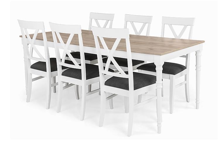 Ruokailuryhmä Milton Jatkettava - 6 Twain tuolia - Huonekalut - Ruokailuryhmät - Kulmikas ruokailuryhmä