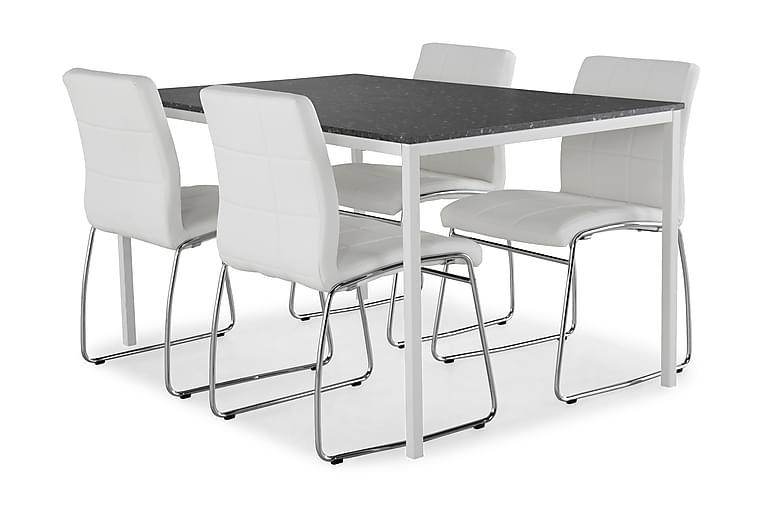 Ruokailuryhmä Minto 138 cm + 4 Mucura tuolia - T.harmaa Terrazzo/Valk/Kromi - Huonekalut - Ruokailuryhmät - Kulmikas ruokailuryhmä