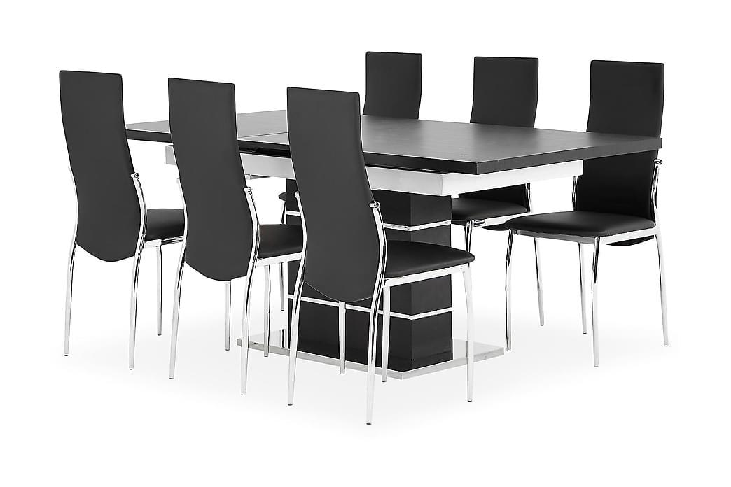 Ruokailuryhmä Mueller 140 Musta/valkoinen/kromi - 6 Henkel tuolia - Huonekalut - Ruokailuryhmät - Kulmikas ruokailuryhmä