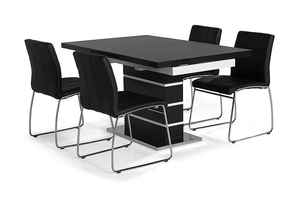 Ruokailuryhmä Mueller 4 Mucura tuolia Musta - Musta/Valkoinen/Kromi - Huonekalut - Ruokailuryhmät - Kulmikas ruokailuryhmä