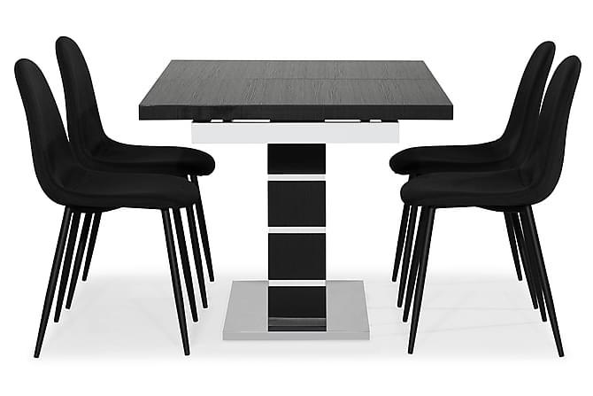 Ruokailuryhmä Mueller 4 Naira tuolia - Musta/Valkoinen - Huonekalut - Ruokailuryhmät - Kulmikas ruokailuryhmä