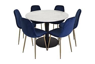 Ruokailuryhmä Netanya 106 cm Pyöreä Marmori 6 Luisa tuolia