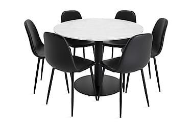 Ruokailuryhmä Netanya 106 cm Pyöreä Marmori 6 Tommy tuolia