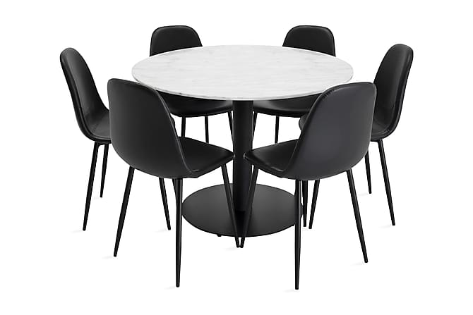 Ruokailuryhmä Netanya 106 cm Pyöreä Marmori 6 Tommy tuolia - Huonekalut - Ruokailuryhmät - Kulmikas ruokailuryhmä