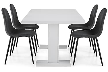 Ruokailuryhmä Nico 160x40 cm Valkoinen/Harmaa/Musta