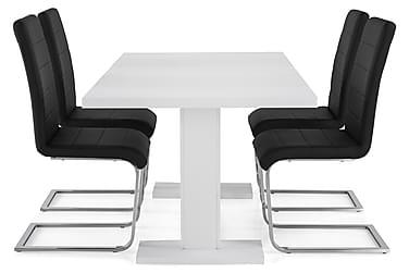 Ruokailuryhmä Nico 160x40 cm Valkoinen/Musta PU/Kromi
