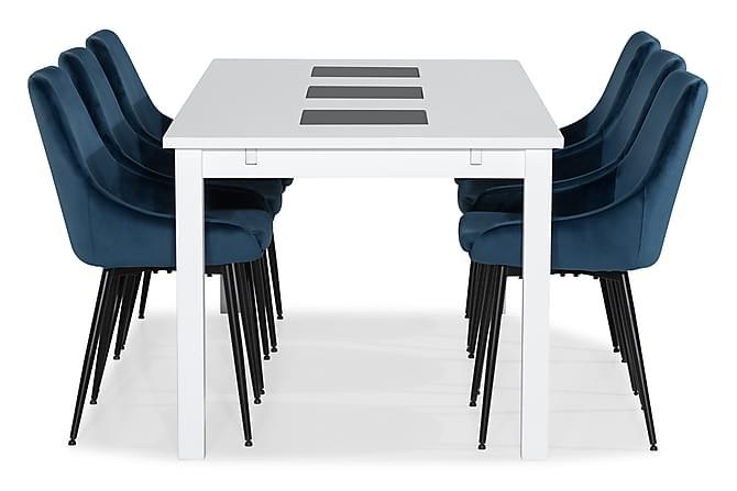 Ruokailuryhmä Octavia Jatkettava 180 cm 6 Bergviken tuolilla - Valkoinen/Sininen - Huonekalut - Ruokailuryhmät - Kulmikas ruokailuryhmä