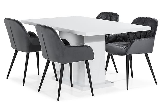 Ruokailuryhmä Ratliff 160 cm 4 Giovanni tuolilla Sametti - Huonekalut - Ruokailuryhmät - Kulmikas ruokailuryhmä