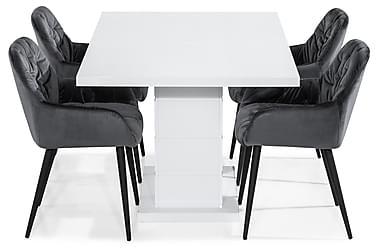 Ruokailuryhmä Ratliff 160 cm 4 Giovanni tuolilla Sametti