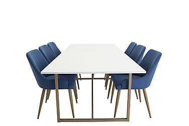 Ruokailuryhmä Sanvil 240 cm Valkoinen/tammi/sininen