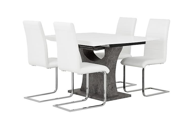 Ruokailuryhmä Seseli 140 Valkoinen/betoni - 4 Abruzzo tuolia - Huonekalut - Ruokailuryhmät - Kulmikas ruokailuryhmä