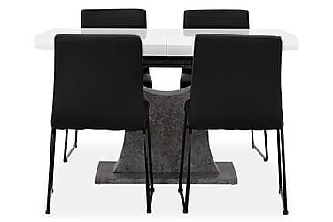 Ruokailuryhmä Seseli 140 Valkoinen/betoni/musta
