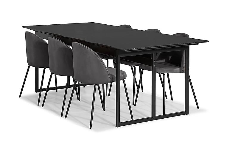 Ruokailuryhmä Titania Marmori 6 Gerardo tuolia Sametti - Musta/Harmaa - Huonekalut - Ruokailuryhmät - Kulmikas ruokailuryhmä