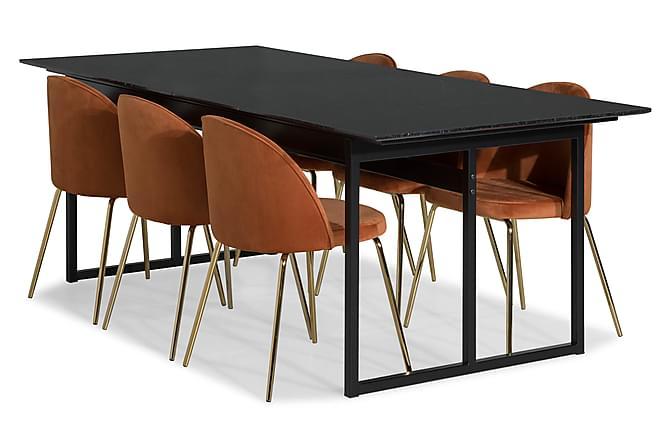 Ruokailuryhmä Titania Marmori 6 Gerardo tuolia Sametti - Musta/Oranssi/Messinki - Huonekalut - Ruokailuryhmät - Kulmikas ruokailuryhmä