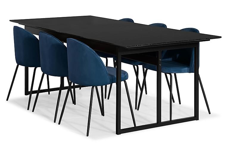 Ruokailuryhmä Titania Marmori 6 Gerardo tuolia Sametti - Musta/Tummansininen - Huonekalut - Ruokailuryhmät - Kulmikas ruokailuryhmä