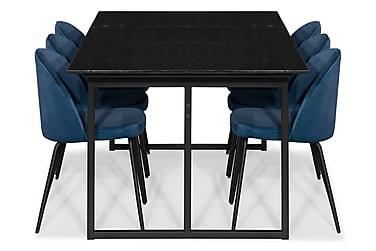 Ruokailuryhmä Titania Marmori 6 Gerardo tuolia Sametti