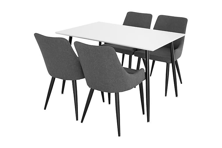 Ruokailuryhmä Tommy 120 cm 4 Trym tuolia - Valkoinen/Musta/Tummanharmaa - Huonekalut - Ruokailuryhmät - Kulmikas ruokailuryhmä