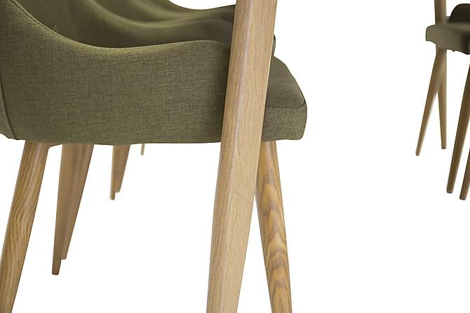 Ruokailuryhmä Tommy 240 cm Ellipsi Valkoinen/tammi/vihreä - 6 Trym tuolia - Huonekalut - Ruokailuryhmät - Kulmikas ruokailuryhmä