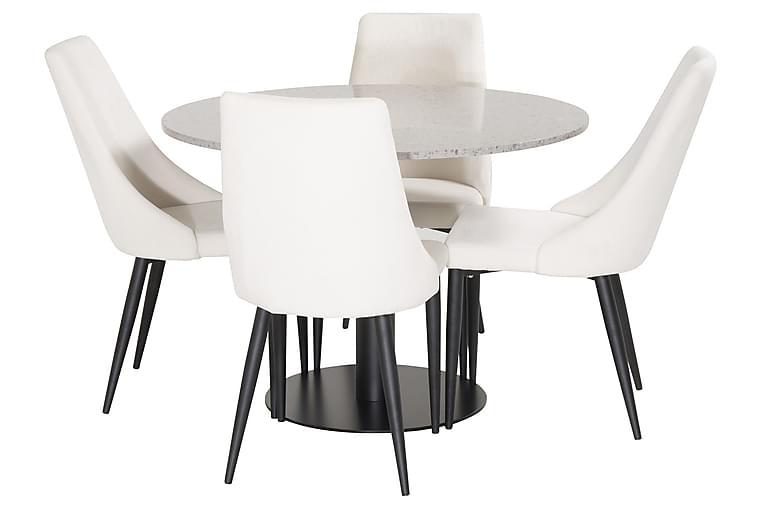 Ruokailuryhmä Wivece 4 Abran tuolia - Huonekalut - Ruokailuryhmät - Kulmikas ruokailuryhmä