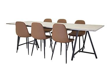 Ruokapöytä Gabija + 6 Tommy tuolia