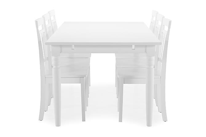 Ruokapöytä Hampton + 6 Catskill tuolia - Valkoinen - Huonekalut - Ruokailuryhmät - Kulmikas ruokailuryhmä