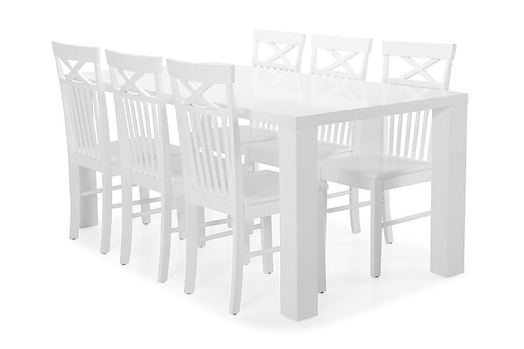 Ruokapöytä Jack + 6 Matilda tuolia - Valkoinen - Huonekalut - Ruokailuryhmät - Kulmikas ruokailuryhmä