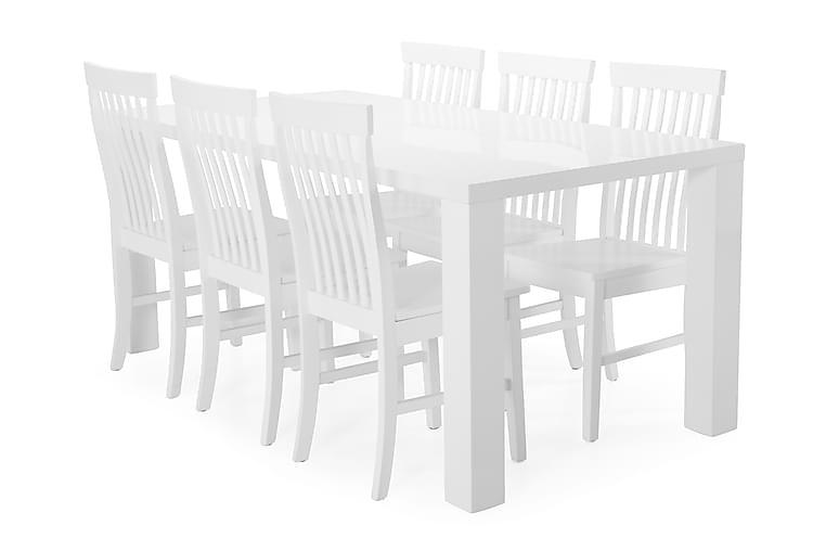 Ruokapöytä Jack + 6 Milica tuolia - Valkoinen - Huonekalut - Ruokailuryhmät - Kulmikas ruokailuryhmä