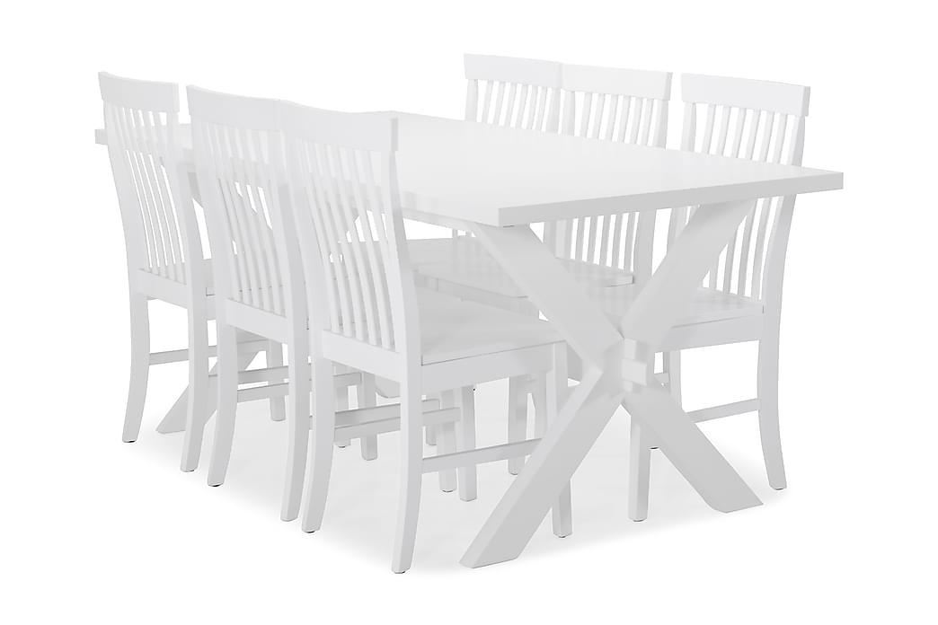 Ruokapöytä Linnea + 6 Milica tuolia - X-jalka/Valkolakka - Huonekalut - Ruokailuryhmät - Kulmikas ruokailuryhmä