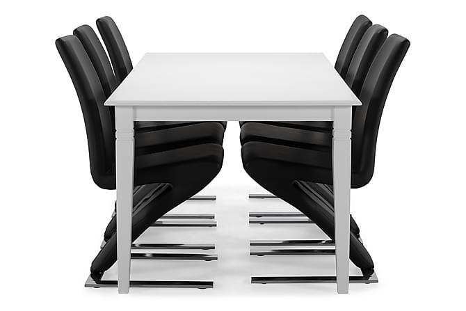 Ruokapöytä Twain 6 kpl Nico tuolia - Valkoinen/Musta/Kromi - Huonekalut - Ruokailuryhmät - Kulmikas ruokailuryhmä