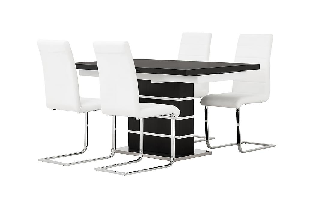 SUNNE Pöytä 140 Musta/valk + 4 EMÅN tuolia Valk - Huonekalut - Ruokailuryhmät - Kulmikas ruokailuryhmä