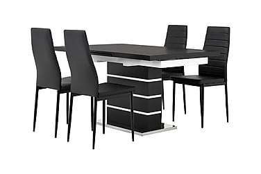 SUNNE Pöytä 140 Musta/valk + 4 GRANÅN tuolia Musta