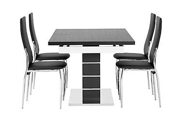 SUNNE Pöytä 140 Musta/valk + 4 LAGAN tuolia Musta