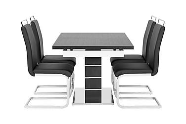SUNNE Pöytä 140 Musta/valk + 4 Robledo tuolia Musta
