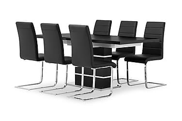 SUNNE Pöytä 140 Musta/valk + 6 EMÅN tuolia Musta