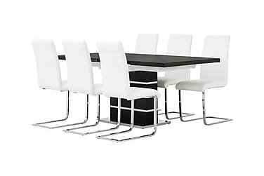 SUNNE Pöytä 140 Musta/valk + 6 EMÅN tuolia Valk