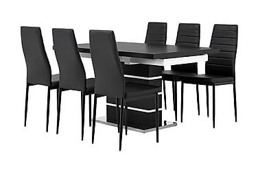 SUNNE Pöytä 140 Musta/valk + 6 GRANÅN tuolia Musta