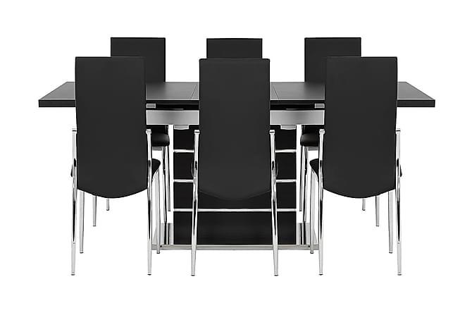 SUNNE Pöytä 140 Musta/valk + 6 LAGAN tuolia Musta - Huonekalut - Ruokailuryhmät - Kulmikas ruokailuryhmä