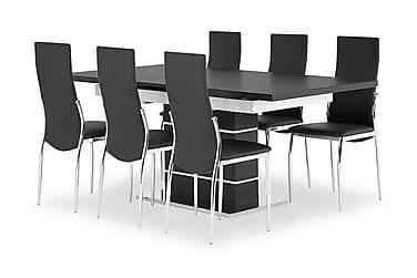 SUNNE Pöytä 140 Musta/valk + 6 LAGAN tuolia Musta