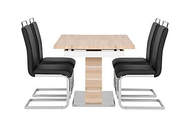SUNNE Pöytä 140 Tammi/valk + 4 GANNAN tuolia Musta