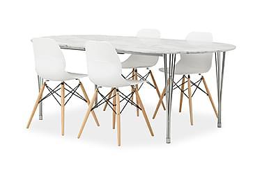 GEORGE Pöytä Marmori/Kromi + 4 RANA tuolia Valkoinen/tammi