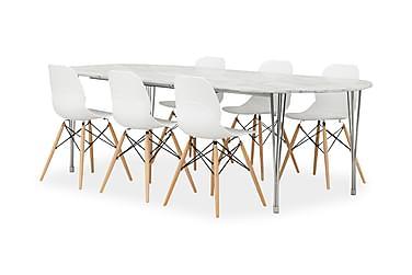 GEORGE Pöytä Marmori/Kromi + 6 RANA tuolia Valkoinen/tammi