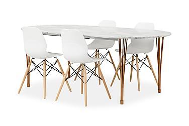 GEORGE Pöytä Marmori/Kupari + 4 RANA tuolia Valkoinen/tammi