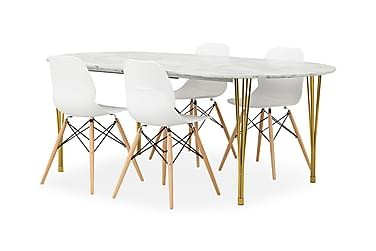 GEORGE Pöytä Marmori/messinki + 4 RANA tuolia Valkoinen/tamm